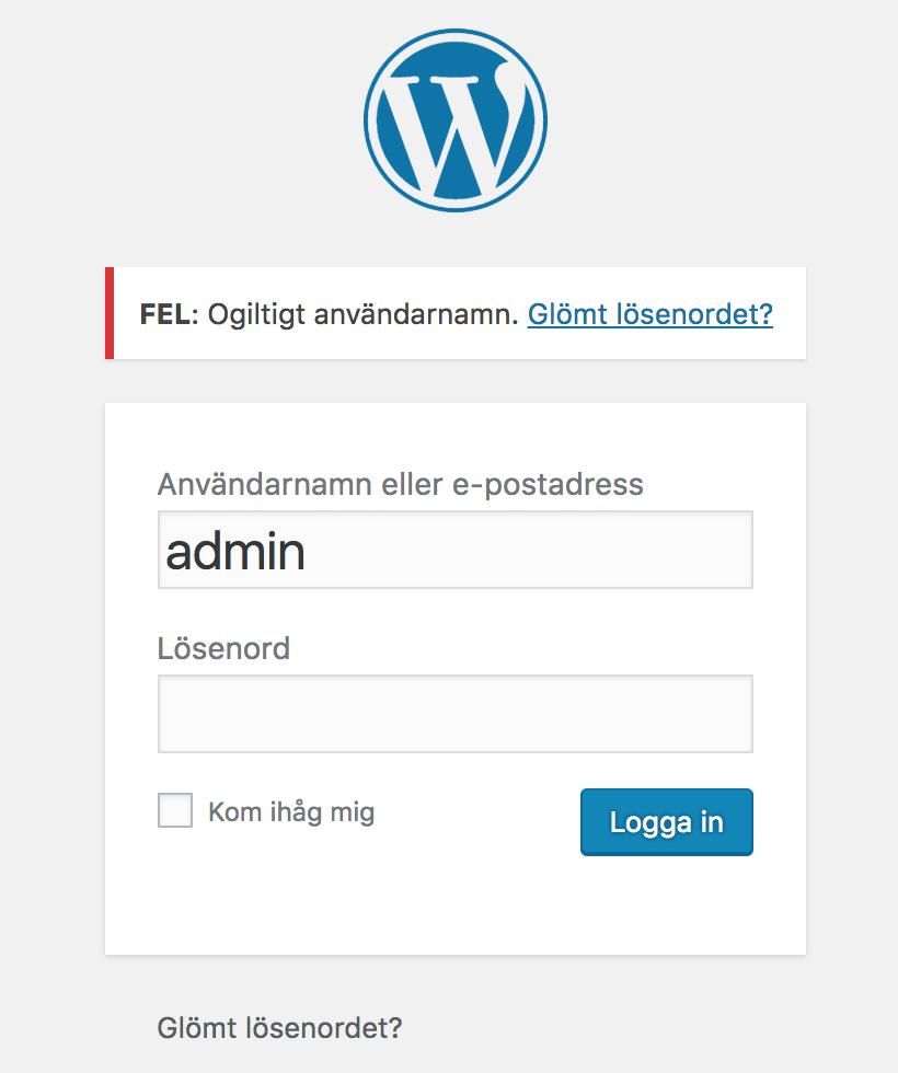 wordpress fel lösenord